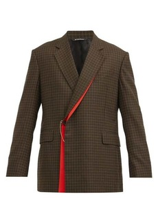 Givenchy Gun Club-check wrap-front wool-twill suit jacket
