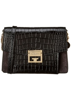 Givenchy Gv Small Croc-Embossed Leather & Suede Shoulder Bag