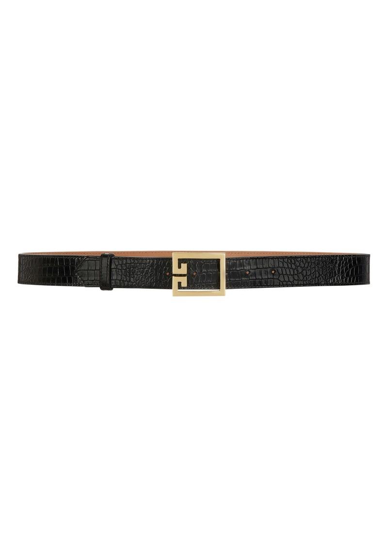 Givenchy GV3 Buckle Croc Embossed Calfskin Skinny Belt