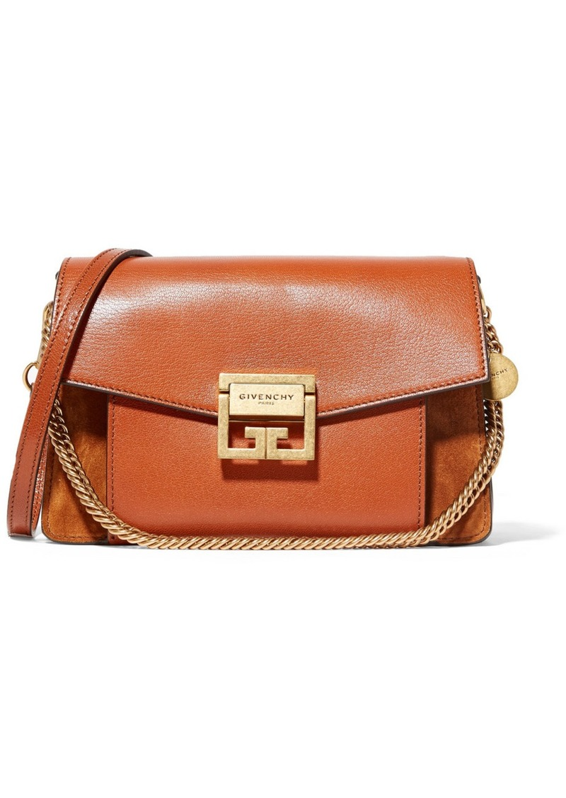 2eba32c17877c Givenchy GV3 small textured-leather and suede shoulder bag   Handbags