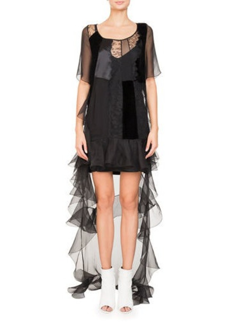 fcf1d2210c3d Givenchy High-Low Short-Sleeve Ruffled Chiffon Lace Cocktail Dress