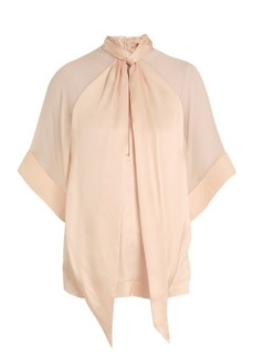 Givenchy High-neck pleated silk-satin blouse