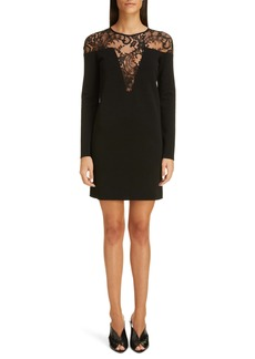 Givenchy Illusion Lace Neck Long Sleeve Dress