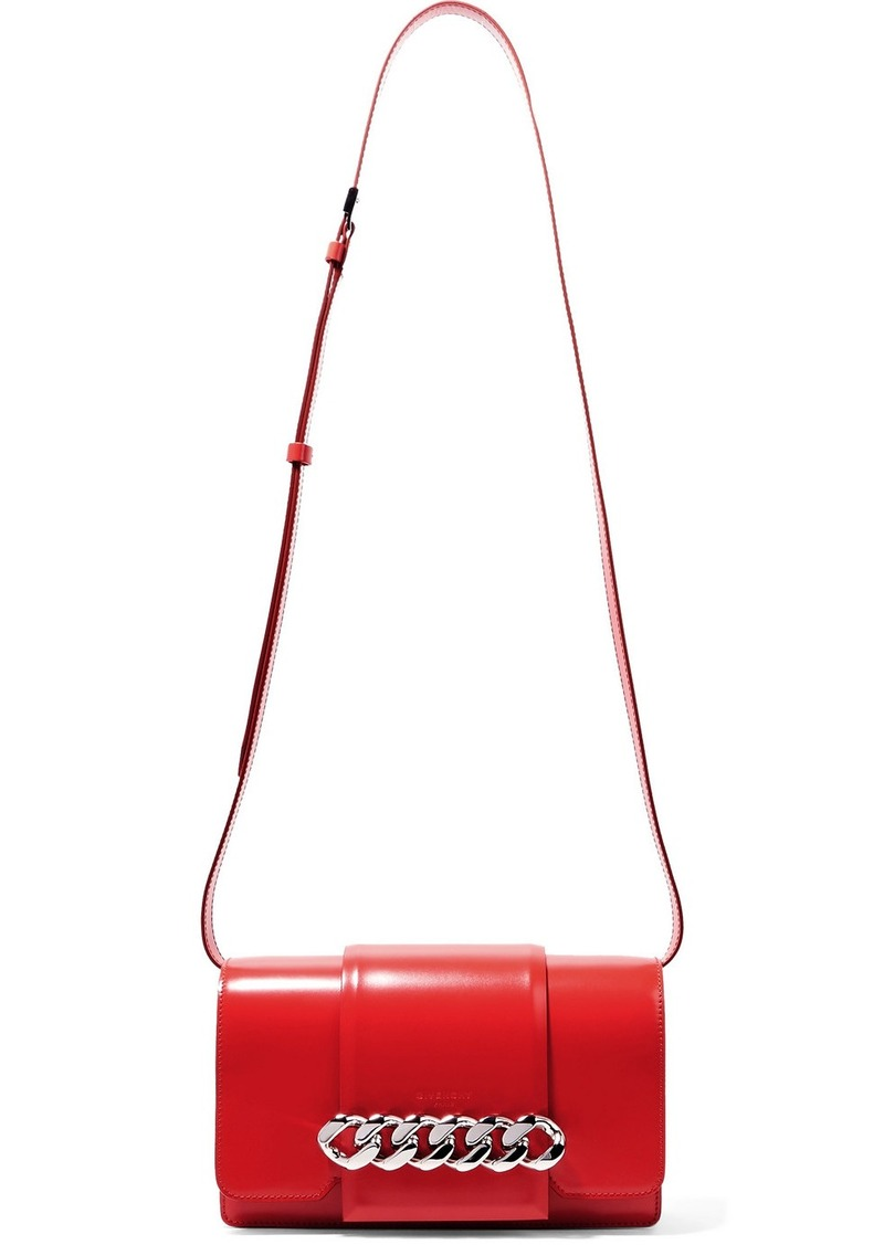 dfacdeb3c4 Givenchy Infinity chain-trimmed glossed-leather shoulder bag
