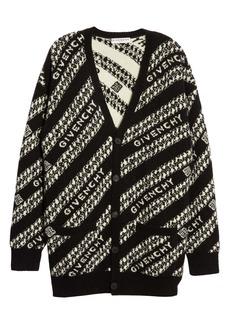 Givenchy Intarsia Logo & Chain Link Wool Blend Cardigan
