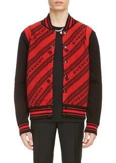 Givenchy Jacquard Logo & Chain Link Wool Bomber Jacket