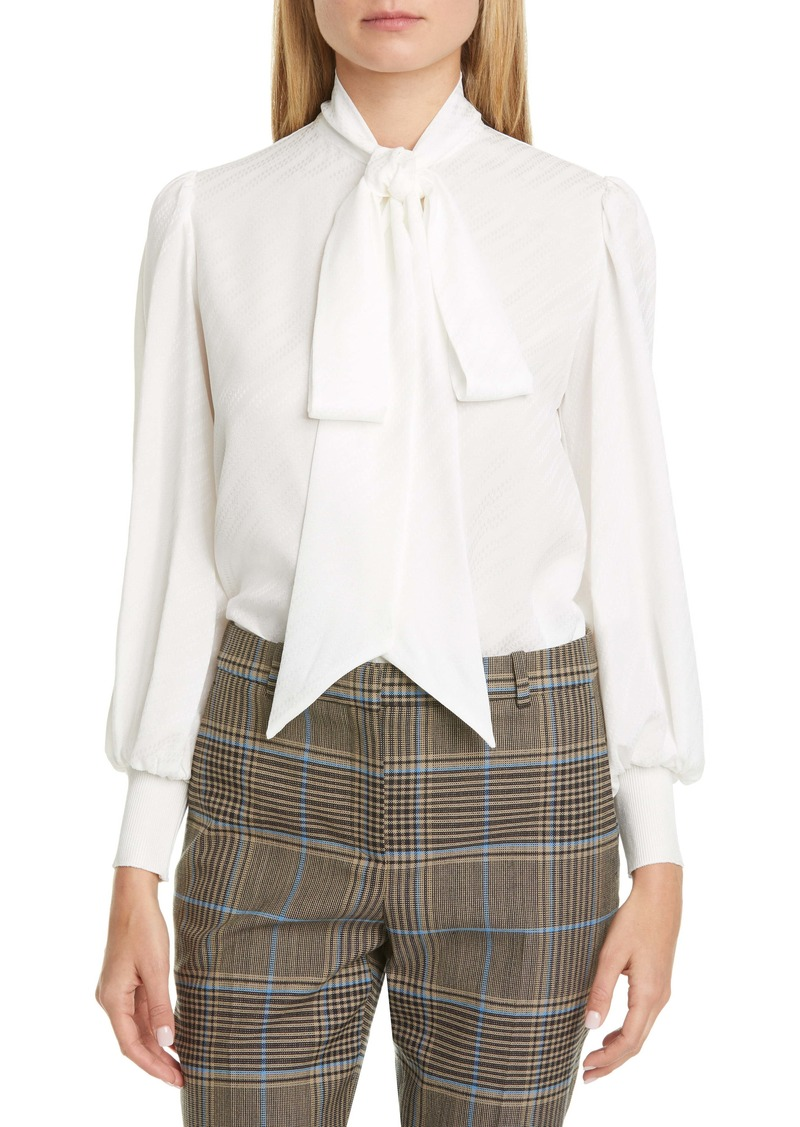 Givenchy Jacquard Logo Print Tie Neck Silk Top