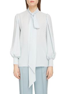 Givenchy Jacquard Logo Print Tie Neck Silk Top