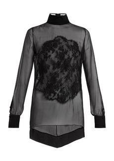 Givenchy Lace-appliqué high-neck sheer silk blouse
