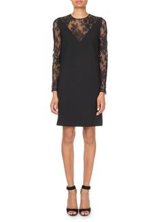 Givenchy Lace-Inset V-Illusion Mini Dress