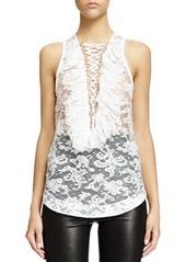 Givenchy Lace-Up Ruffled Bib Lace Top