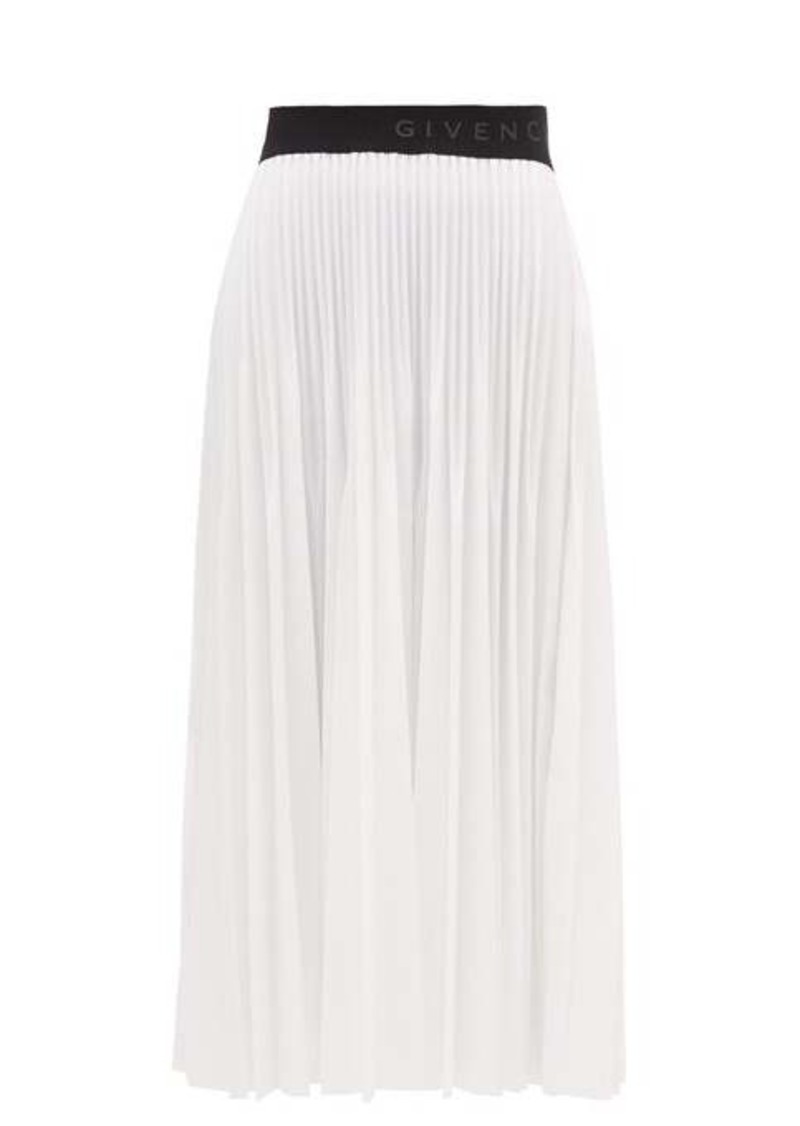 Givenchy Lacquered pleated-gauze midi skirt