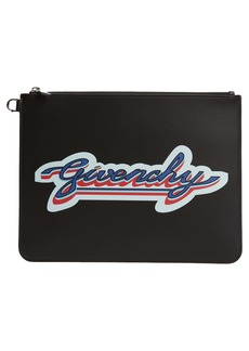 Givenchy Large Logo Zip Leather Pouch