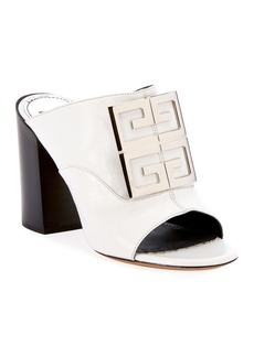 Givenchy Leather 4G Logo 90mm Slide Sandals - Silvertone Hardware