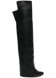 Givenchy Leather Newton Over The Knee Wedge Boots