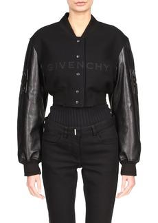 Givenchy Leather Sleeve Logo Crop Varsity Jacket