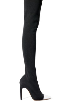 Givenchy Leather-trimmed stretch-knit over-the-knee boots