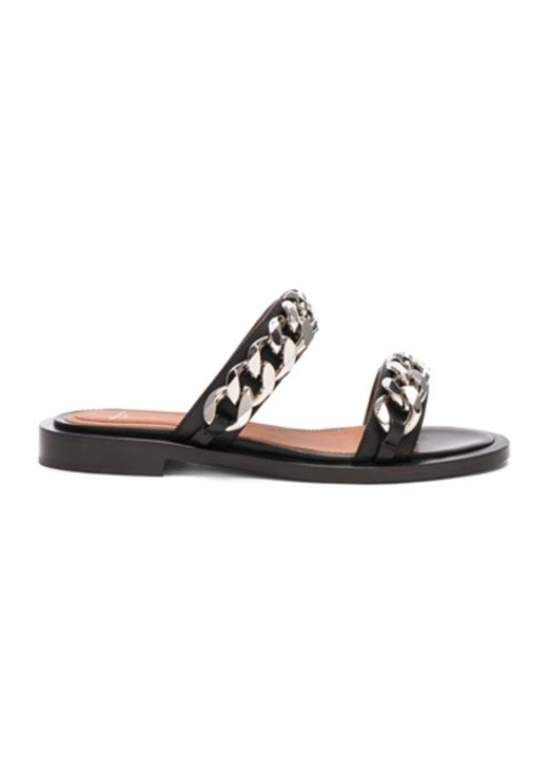 02eb688f22df1f Givenchy Givenchy Leather Two Strap Chain Flat Sandals Now  398.00
