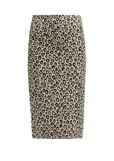 Givenchy Leopard-jacquard pencil skirt