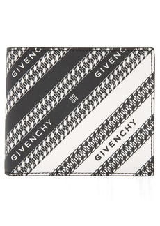 Givenchy Logo & Chain Link Coated Canvas Bifold Wallet