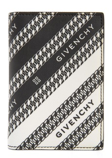 Givenchy Logo & Chain Link Coated Canvas Card Case