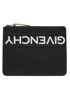 Givenchy Logo-appliqué large leather pouch
