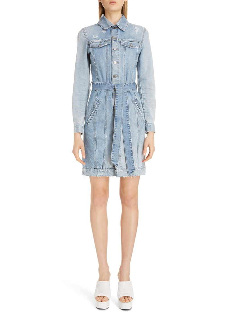 Givenchy Logo Belt Long Sleeve Distressed Denim Shirtdress