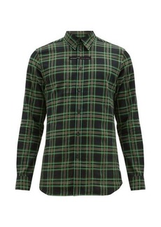 Givenchy Logo-embroidered checked cotton-flannel shirt