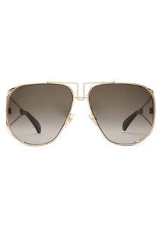 Givenchy Logo-engraved aviator metal sunglasses