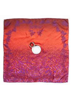 Givenchy Logo Eyelet Silk Twill Scarf