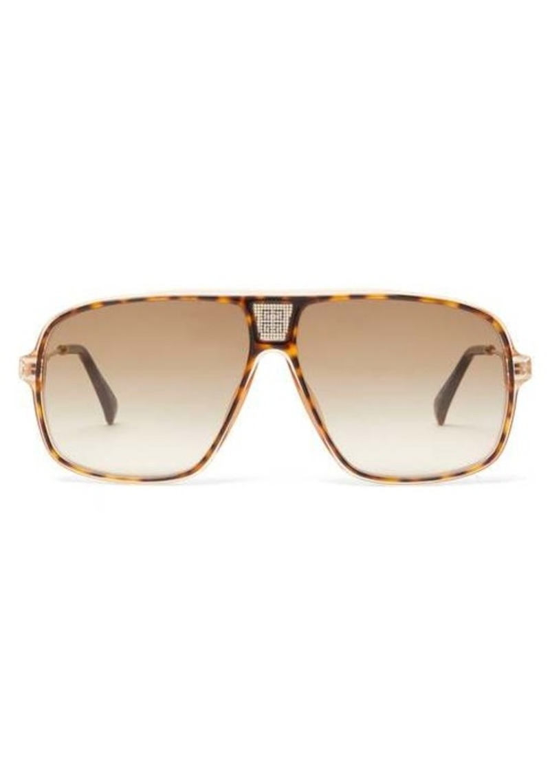 Givenchy Logo-grid aviator acetate and metal sunglasses
