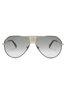 Givenchy Logo-grid aviator metal sunglasses
