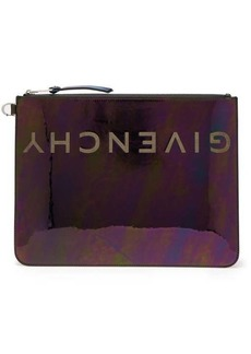 Givenchy Logo iridescent-leather pouch