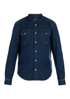 Givenchy Logo-jacquard side-stripe denim shirt