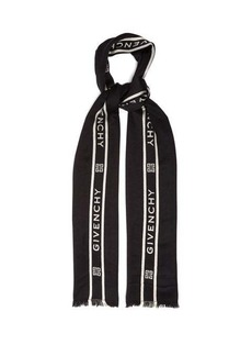 Givenchy Logo-jacquard wool and silk-blend scarf