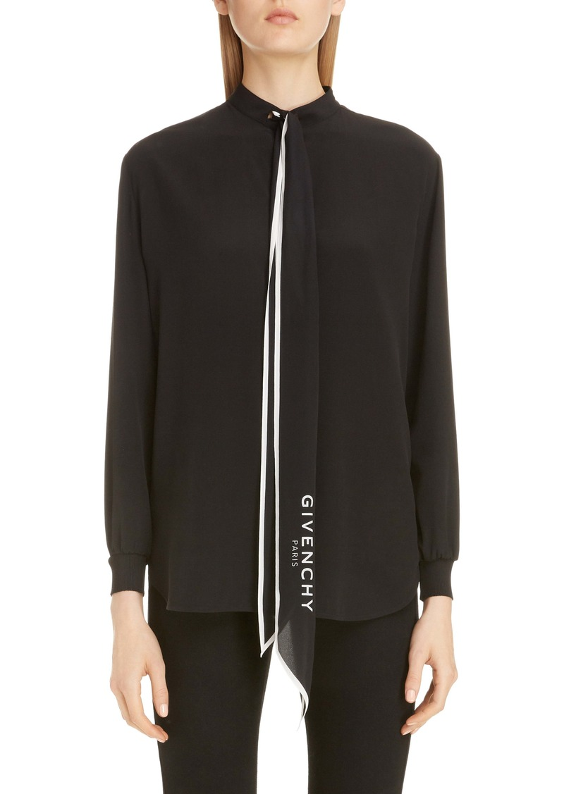 Givenchy Logo Scarf Neck Silk Blouse