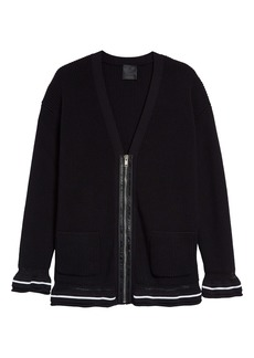Givenchy Logo Trim Zip Wool Cardigan