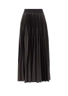 Givenchy Logo-waist pleated-faille midi skirt