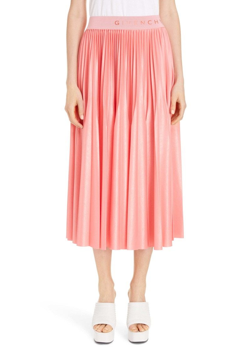 Givenchy Logo Waist Pleated Midi Skirt