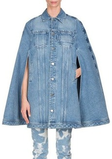 Givenchy Long Denim Cape with Stars