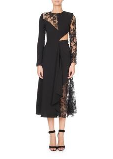 Givenchy Long-Sleeve Asymmetric Laced Cutout Dress
