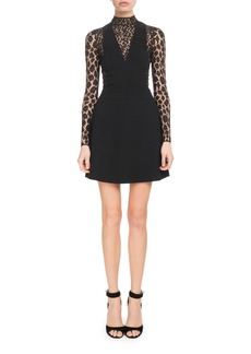 Givenchy Long-Sleeve Lace Wool Crepe Cocktail Dress
