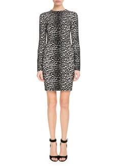 Givenchy Long-Sleeve Leopard-Jacquard Body-Con Dress
