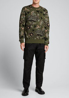 Givenchy Men's Camo Floral Jacquard Sweater