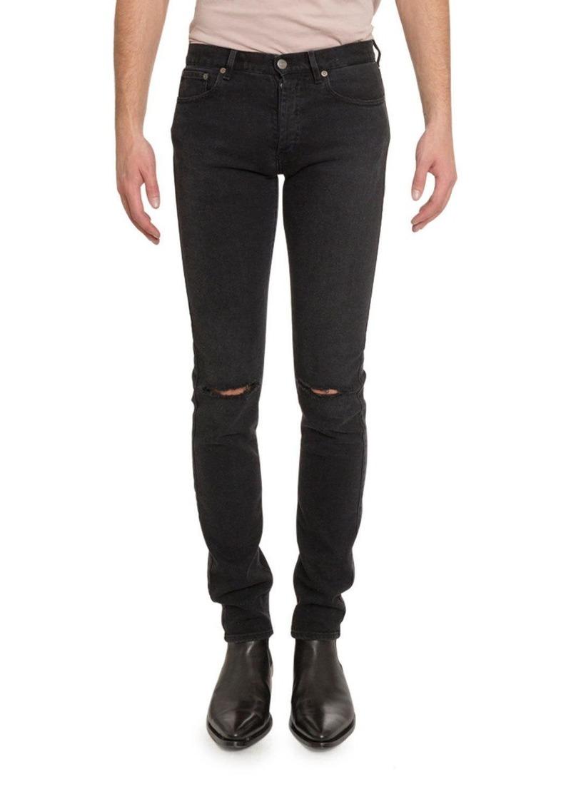 Givenchy Men's Distressed Skinny Stretch-Denim Jeans  Black