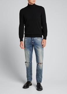 Givenchy Men's Skinny Light-Wash Knee-Rip Jeans