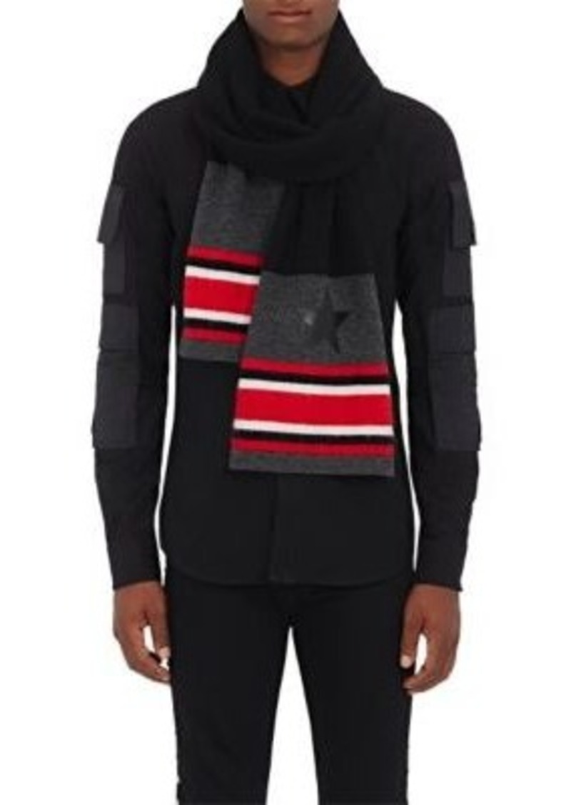 Givenchy Men's Striped Mohair-Blend Scarf-BLACK