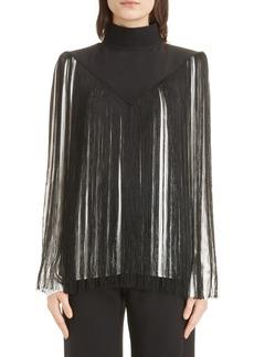 Givenchy Mock Neck Fringe Silk Top