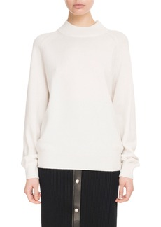 Givenchy Mock-Neck Long-Sleeve Cashmere Sweater w/ Logo Detail