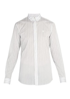 Givenchy Monogram-embroidered pinstriped cotton-blend shirt
